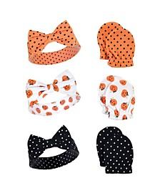 Girl 6-piece Dots Headband and Scratch Mitten Set