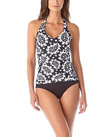 Shirred Tankini Top & High-Waist Bottoms
