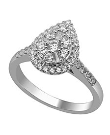 Pear Shape Composite Round and Baguette Diamond (1 c.t .w.)  Ring in 14K White Gold