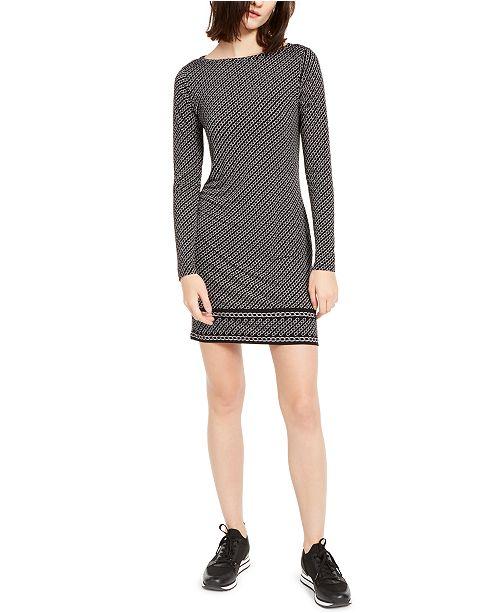 Michael Kors Long-Sleeve Chain-Print Dress, Regular & Petite Sizes