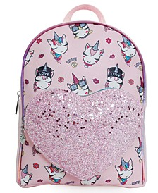 OMG Accessories Trendy Unicorn Printed Mini Backpack with Heart Pocket