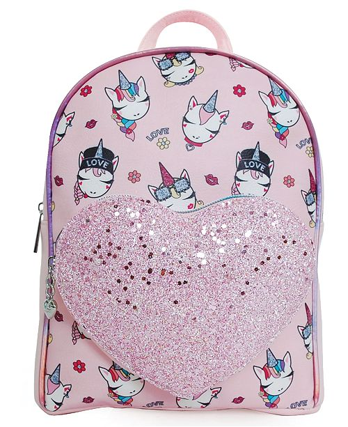 OMG! Accessories OMG Accessories Trendy Unicorn Printed Mini Backpack with Heart Pocket