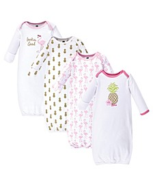 Baby Girl Cotton Gowns, 4-Pack