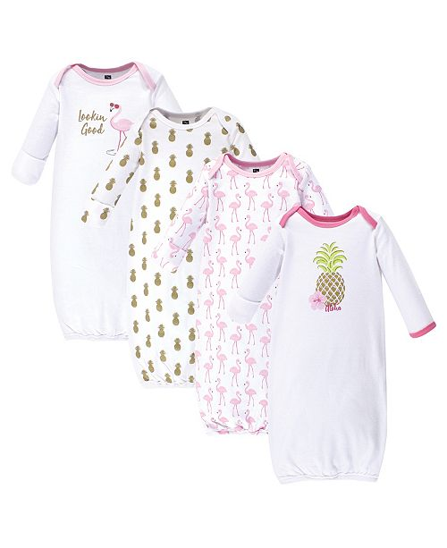 Hudson Baby Baby Girl Cotton Gowns, 4-Pack