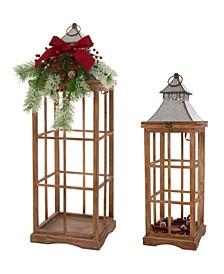 Farmhouse Wood-Metal Lanterns Set of 2