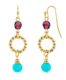 14K Gold Dipped Drop Hoop Bead Wire Earring