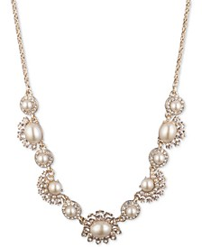 """Gold-Tone Crystal & Imitation Pearl Statement Necklace, 16"""" + 3"""" extender"""