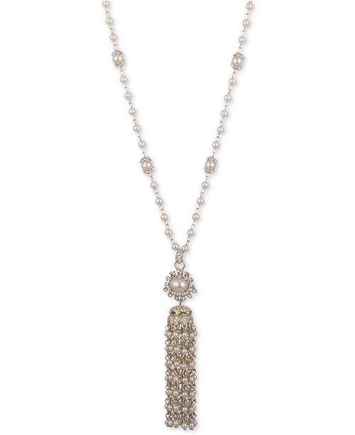 "Marchesa Gold-Tone Pavé & Imitation Pearl Tassel Pendant Necklace, 28"" + 3"" extender"