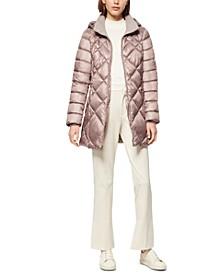 Diamond Quilt Hooded Puffer Coat