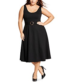 Trendy Plus Size Belted Midi Fit & Flare Dress