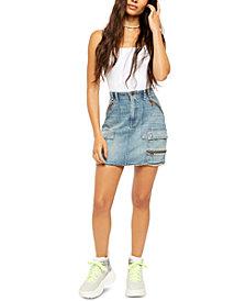 Free People Avenue Mini Jean Skirt