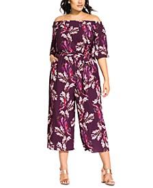 Trendy Plus Size Off-The-Shoulder Printed Jumpsuit