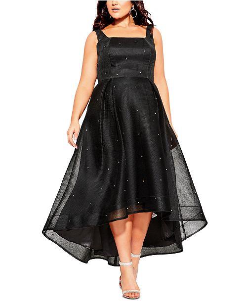 Trendy Plus Size Rhinestone High-Low Dress