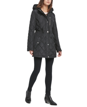 Dkny Jackets QUILTED FAUX-LEATHER-TRIM ANORAK JACKET