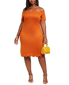 Trendy Plus Size Scalloped Off-The-Shoulder Dress