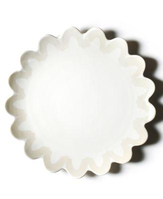 by Laura Johnson Ecru Arabesque Trim Scallop Edge Platter