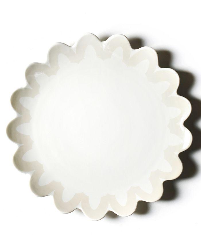 Coton Colors - Ecru Arabesque Trim Scallop Edge Platter