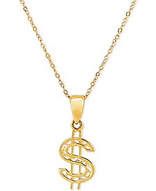 """Dollar Sign 18"""" Pendant Necklace in 10k Gold"""