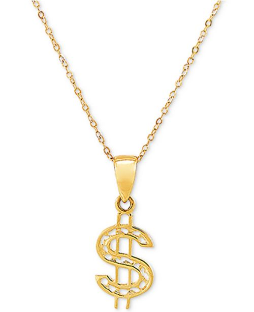"""Macy's Dollar Sign 18"""" Pendant Necklace in 10k Gold"""