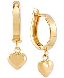 Dangle Heart Huggie Hoop Earrings in 10k Gold