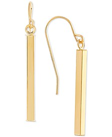 Square Tube Drop Earrings in 10k Gold