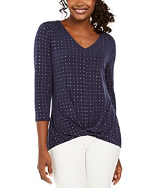 JM Colletion Embellished Twist-Front Top, Created For Macy's