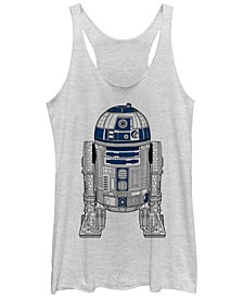 Star Wars R2-D2 Outline Tri-Blend Racer Back Tank