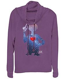 E.T. Terrestrial Universe Silhouette Heart Cowl Neck Sweater