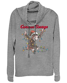 Curious George Christmas Light Tangle Sketch Cowl Neck Sweater