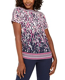 Mixed-Print Rhinestone Dolman-Sleeve Top, Created for Macy's
