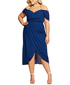 Trendy Plus Size Off-The-Shoulder Tulip-Hem Midi Dress