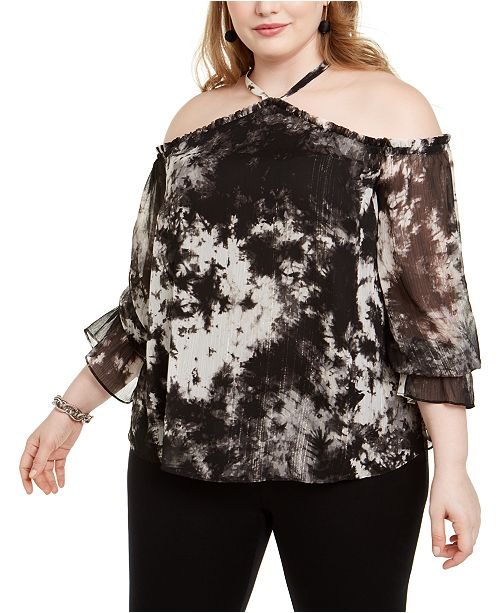 INC International Concepts INC Plus Size Tie-Dyed Cold-Shoulder Top, Created For Macy's