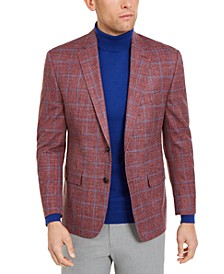Men's Classic-Fit UltraFlex Stretch Red/Blue Windowpane Silk & Wool Sport Coat