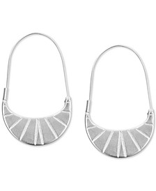 Medium Silver-Tone Etched Oval Hoop Earrings 1-1/4""