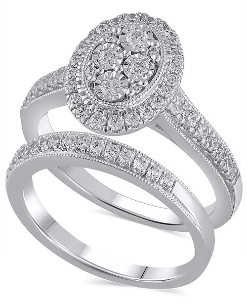 Macy's Certified Diamond (3/4 ct. t.w.) Bridal Set in 14K White Gold