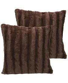 "Faux Fur 20"" x 20"" Throw Pillow Set"