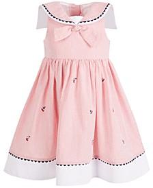Toddler Girls Embroidered Seersucker Nautical Dress