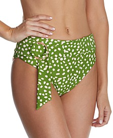 Juniors' Azore Island Printed Halfmoon High-Waist Bikini Bottoms