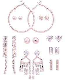 Rose Gold-Tone 9-Pc. Set Crystal & Logo Earrings