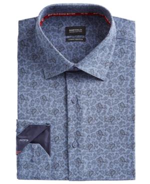 Men's Slim-Fit Performance Stretch Blue/Black Paisley-Print Chambray Dress Shirt