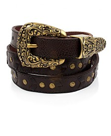 Frye & Co Skinny Western Leather Belt with Lacing and Studs