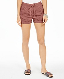 Petite Knit-Waistband Poplin Shorts, Created for Macy's