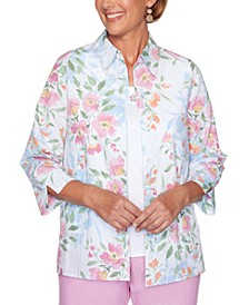 Garden Party Floral-Print Layered-Look Top