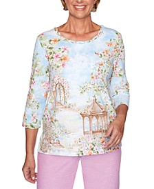 Garden Party Scenic-Print Embellished-Neck Top