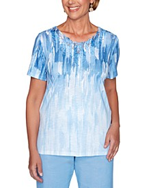 Garden Party Lace-Neck Ombré Top