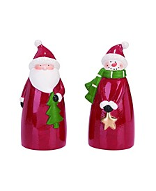 Terracotta Red Christmas Snowman and Santa Figurine - Set of 2