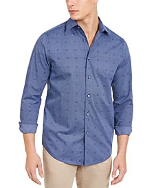 Men's Stretch Geometric Tile-Print Shirt, Created for Macy's