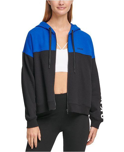 DKNY Sport Colorblocked Flip Logo Zip Hoodie