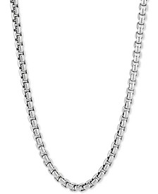 """Rounded Box Link 24"""" Chain Necklace in Sterling Silver"""