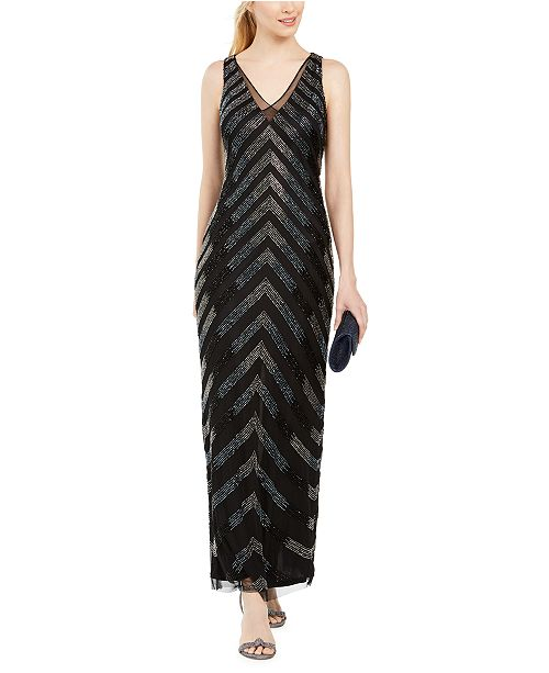 Adrianna Papell Petite Beaded Column Gown